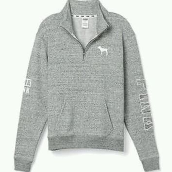 Very Rare! Victoria Secret PINK Half Zip MARLED GRAY Pullover Sweatshirt SMALL S