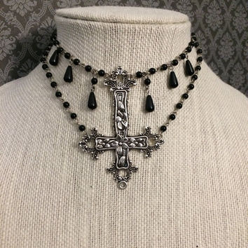 Inverted cross necklace // gothic necklace // gothic cross // upside down cross necklace // bib necklace // collar necklace // gothic choker