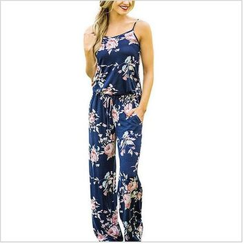 Floral Print Flower Jumpsuit Women Bohemian Style Sexy Spaghetti Strap Sleeveless New Summer Overalls For Women Jumpsuits