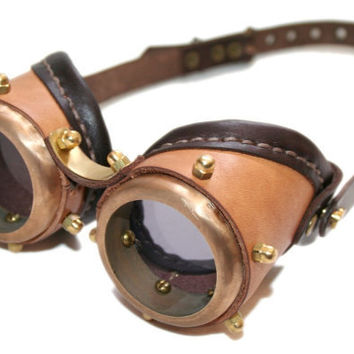 STEAMPUNK GOGGLES made from solid brass tan and dark by ErihMann