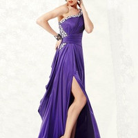 A-Line/Princess One-Shoulder Sweep Train Tulle Charmeuse Prom Dress With Ruffle Beading Split Front