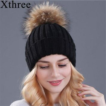 VONES0 Xthree mink and fox fur ball cap pom poms winter hat for women girl 's hat knitted  beanies cap brand new thick female cap