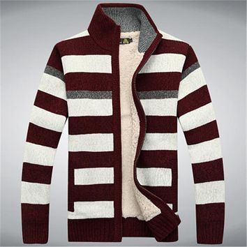 Winter Fleece Thicken Sweater Men 70% Wool Stripe Mens Wool Cardigan sweaters Brand agasalho masculino