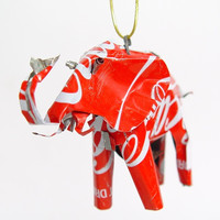 Recycled Coca Cola Can Animal Ornament - Elephant