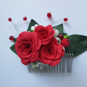 Red wedding Floral red white Woodland wedding Trend hair comb Prom hair Decorations for prom Gift of the colleges Spring decorations