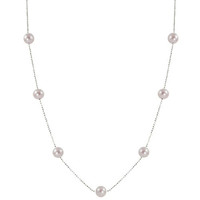 "18"" 7-7.5mm  Pink Freshwater Pearl Station Necklace"