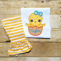 Girls Easter outfit, baby chick shirt, applique shirt, Easter outfit
