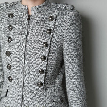 WOOL MILITARY COAT - Coats - Woman - ZARA United States