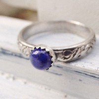 Lazuli Lapis Sterling Silver Ring Ivy and Leaf Band Design