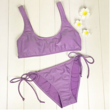 SEXY PURE PURPLE VEST TYPE BOTTOM SIDE KNOT TWO PIECE BIKINI SWIMSUIT