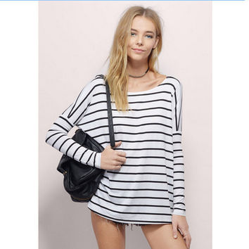 Simple Design Classics Stripes Bat Long Sleeve T-shirts Cotton Bottoming Shirt [7322412545]