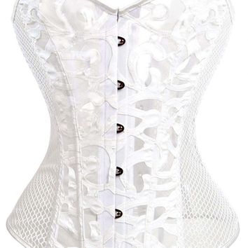 12 Steel Bones Vintage White Mesh Overbust Corset with Tong