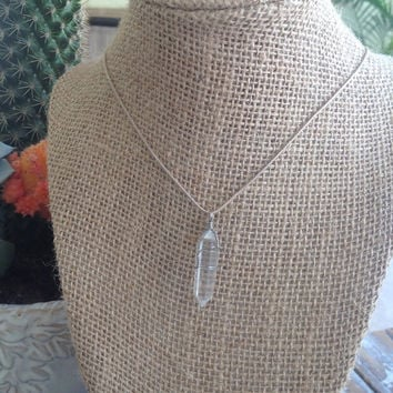 Quartz Wire Wrapped Crystal point necklace-Crystal jewelry,healing jewelry-meditation jewelry-boho, crystal points-Sterling silver Necklace