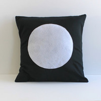 black and white circle applique pillow cover, 18X18