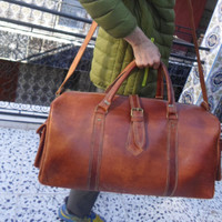 Weekender- leather backpack, leather duffle bag! weekender bag from leather