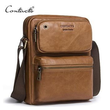 CONTACT'S 2018 New Arrival Genuine Cowhide Leather Men's Cross Body Bag Shoulder Bags For Men Messenger Bag Portfolio