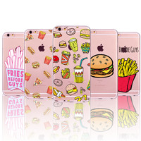 French Fries Hamburgers Burgers Potato Chips Soft TPU Back Cases Cover For Apple iphone 4 4s 5 5s SE 5C 6 6s 6 plus Phone Cases