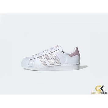 Womens Adidas Superstar + Crystals - Cloud White/Soft Vision/Core Black