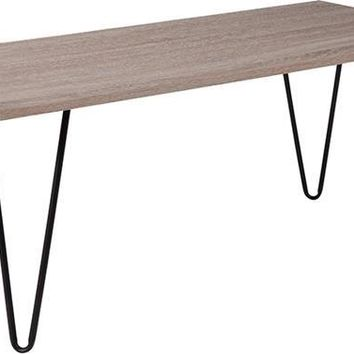 Oak Park Collection Driftwood Wood Grain Finish Coffee Table with Black Metal Legs