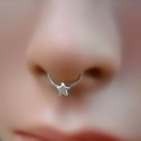 Septum Ring - Star Septum Ring - Sterling Silver Septum Nose Ring - Septum Piercing - Septum Jewelry
