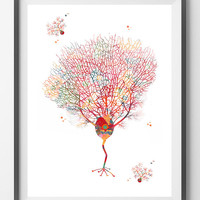 Purkinje Cells print brain cells watercolor print Purkinje Neurons poster science art cerebellum cell neurology art Purkinje cell wall art