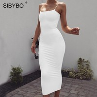 Sibybo Spaghetti Strap Backless Sexy Long Dress Party Off Shoulder Strapless Autumn Maxi Dress Black Bodycon Party Dress Women