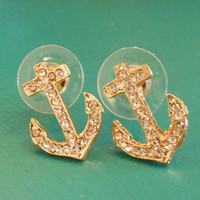 Rhinestone Anchor Earrings  Gold Earrings  Anchors by LiveCoastal