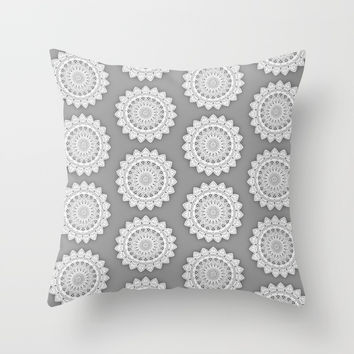 MINIMALIST MANDALA COLLAGE I (GRAY) Throw Pillow by AEJ Design