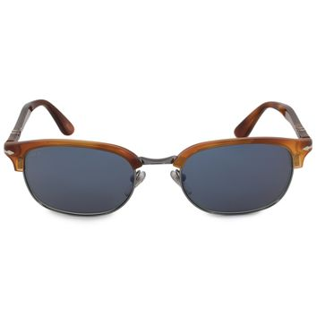 Persol Rectangle Sunglasses PO8139S 96 56 52 | Terra di Siena Frame | Grey Lenses
