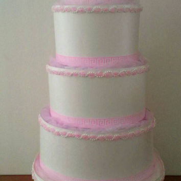 Pink and White Themed Baby Shower 5 Tier Wedding Style Diaper Cake With Pearls and Tulle Table Centerpiece or Baby Girl Sprinkle Gift