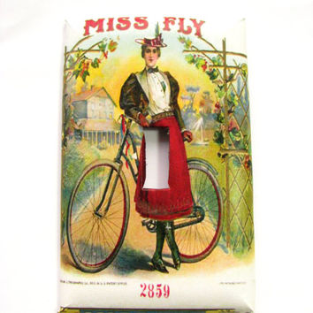 Light Switch Cover - Light Switch Plate Vintage Cigar Art Miss Fly Bicycle Girl