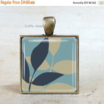 ON SALE light turquoise leaves brass necklace or keychain, blue leaf, photo art pendant