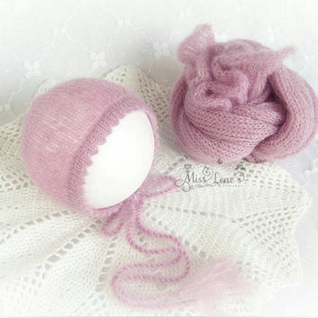 Pink Newborn Mohair Wrap and Bonnet Set, Newborn Photo Prop Set, Newborn Wrap Set,  Knit Pink Mohair Wrap, Newborn Girl Photo Prop Set