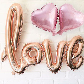 Rose Gold Wedding Decorations, Love Letter Balloon, Photo Booth Props, Engagement Wedding Banner, Bridal Shower, Valentines, Bachelorette