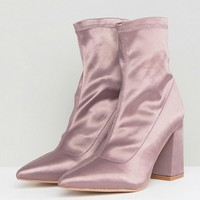 Public Desire Radiate Taupe Satin Sock Ankle Boots at asos.com