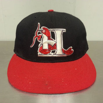 vintage minor league baseball hats hickory crawdads pro line fitted hat throwback style size