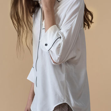 Crop-Sleeve Pajama Shirt