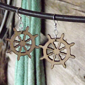 Wood Ship Wheel Earrings, Nautical Earrings, Sea Inspired Jewelry, Nautical Wheel Earrings Nautical Wedding Earrings Nautical Bridal Jewelry
