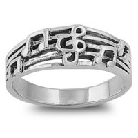 Sterling Silver 8mm G-Clef Musical Note Ring (Size 5 - 10)