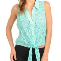 SUMMER LACE FRONT TIE SHIRT