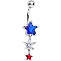 Red White and Blue Gem Patriotic American Stars Dangle Belly Ring | Body Candy Body Jewelry