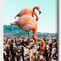«Flamingos In The Desert», Numbered Edition Canvas Print by Uma Gokhale - From $49 - Curioos