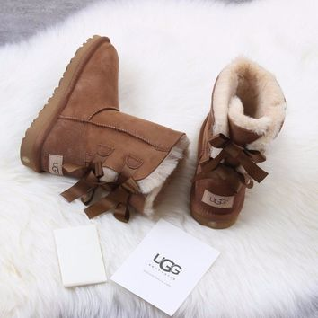 Sale Ugg 1016225 Ribbon Bow Maroon Classic Bailey Bow II Boot Snow Boots