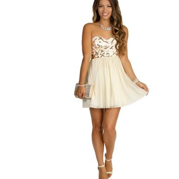 Ivory Swirl Sequin Tulle Dress
