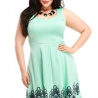 Plus Size Eliza Embroidered Flare Dress | Fashion To Figure