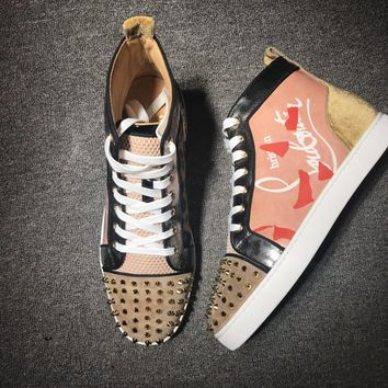 KUYOU Christian Louboutin high tops CL fashion casual shoes red sole for men and women sneakers 90522