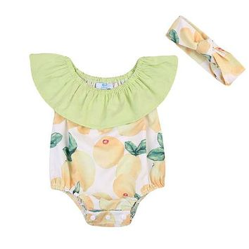 Baby Clothing Newborn Infant Baby Girl Lemon Romper Floral Ruffles Romper Sunsuit Fly Sleeve Clothes Outfit Set