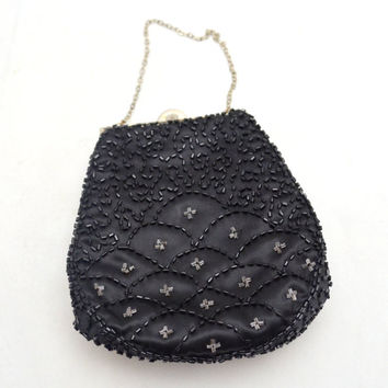 Vintage Beaded Black Purse by K & G Charlet, circa 1950s Black Satin Evening Bag