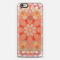 Shades of Coral - Floral Medallion on Crystal Transparent iPhone 6 case by Micklyn Le Feuvre | Casetify