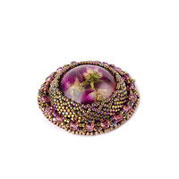 Brooch with real flowers Lovely stylish brooch Bronze purple pink Gift for women Round circle brooch Beaded Embroidered brooch Jewelry